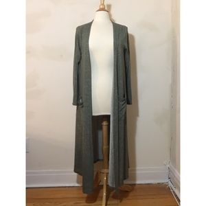LuLaRoe Green White Striped Duster with Pockets